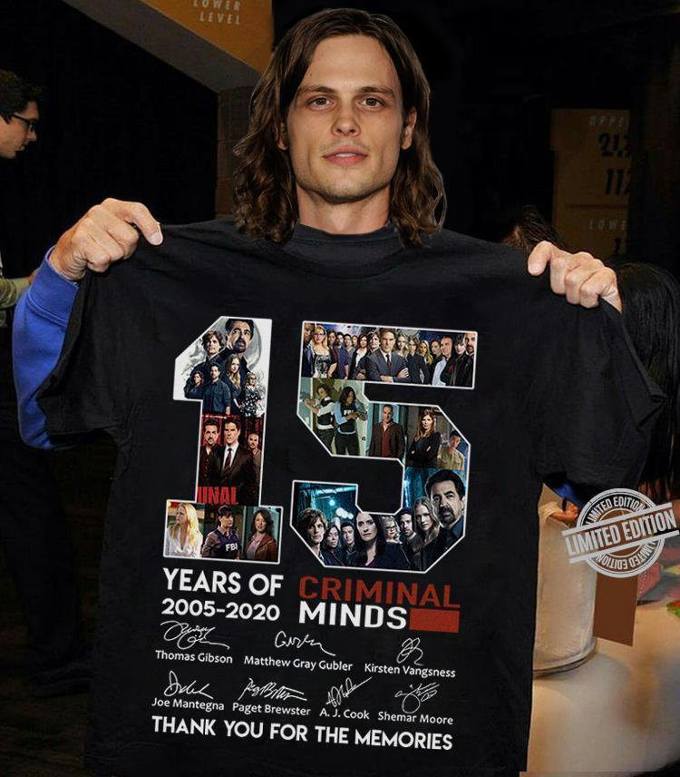 15 Years Of Criminal Minds 2005 2020 Signatures Thank You For The Memories Shirt