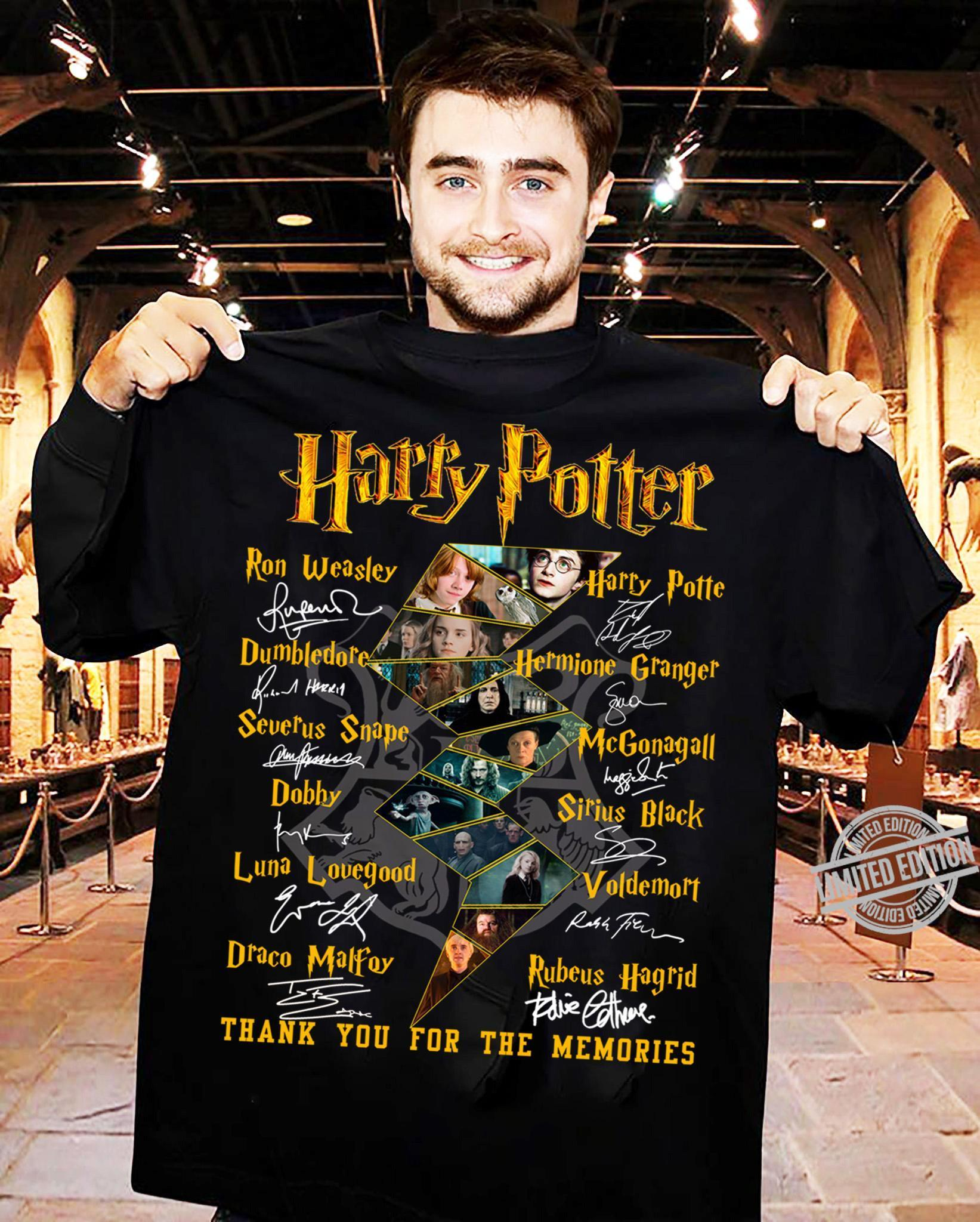 Harry Potter Members And Signatures Thank You For The Memories Shirt