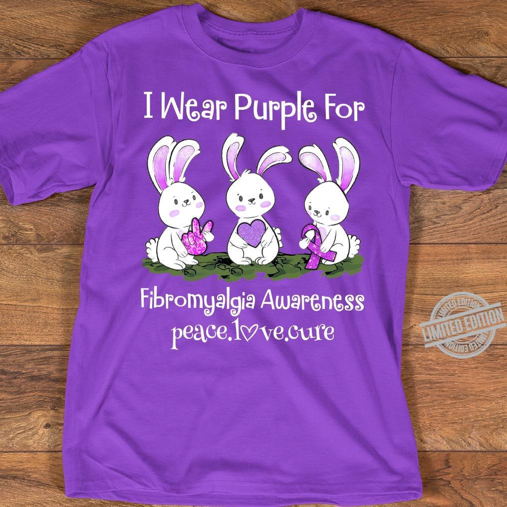 I Wear Purple For Fibromyalgia Awareness Peace Love Cure Shirt